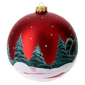 Christmas Bauble red landscape 15cm s6