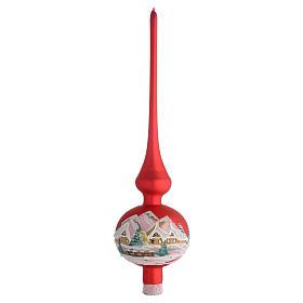 Puntale Albero Natale rosso con paesaggio s1