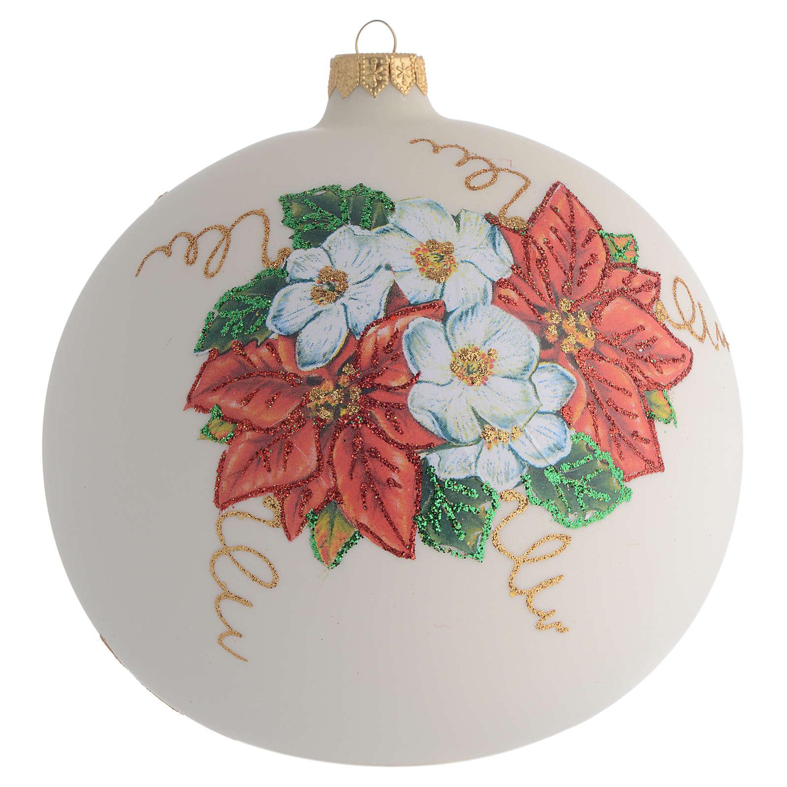 Palla Albero Natale fiori decoupage 150mm 4