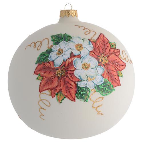 Christmas Bauble Poinsettia découpage 15cm 1