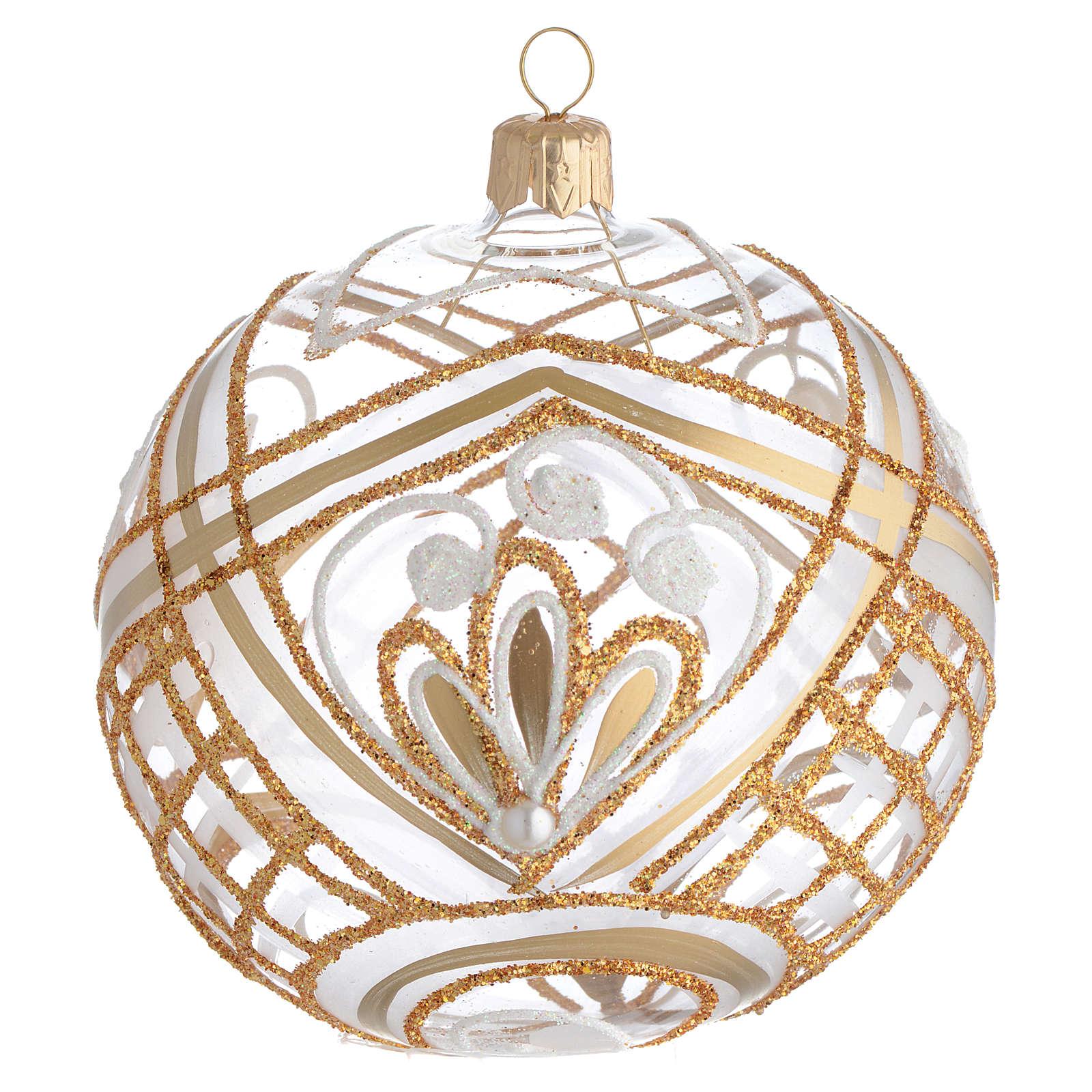 Christmas Bauble blown glass golden decoration 10cm 4