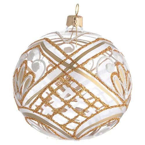 Christmas Bauble blown glass golden decoration 10cm 2