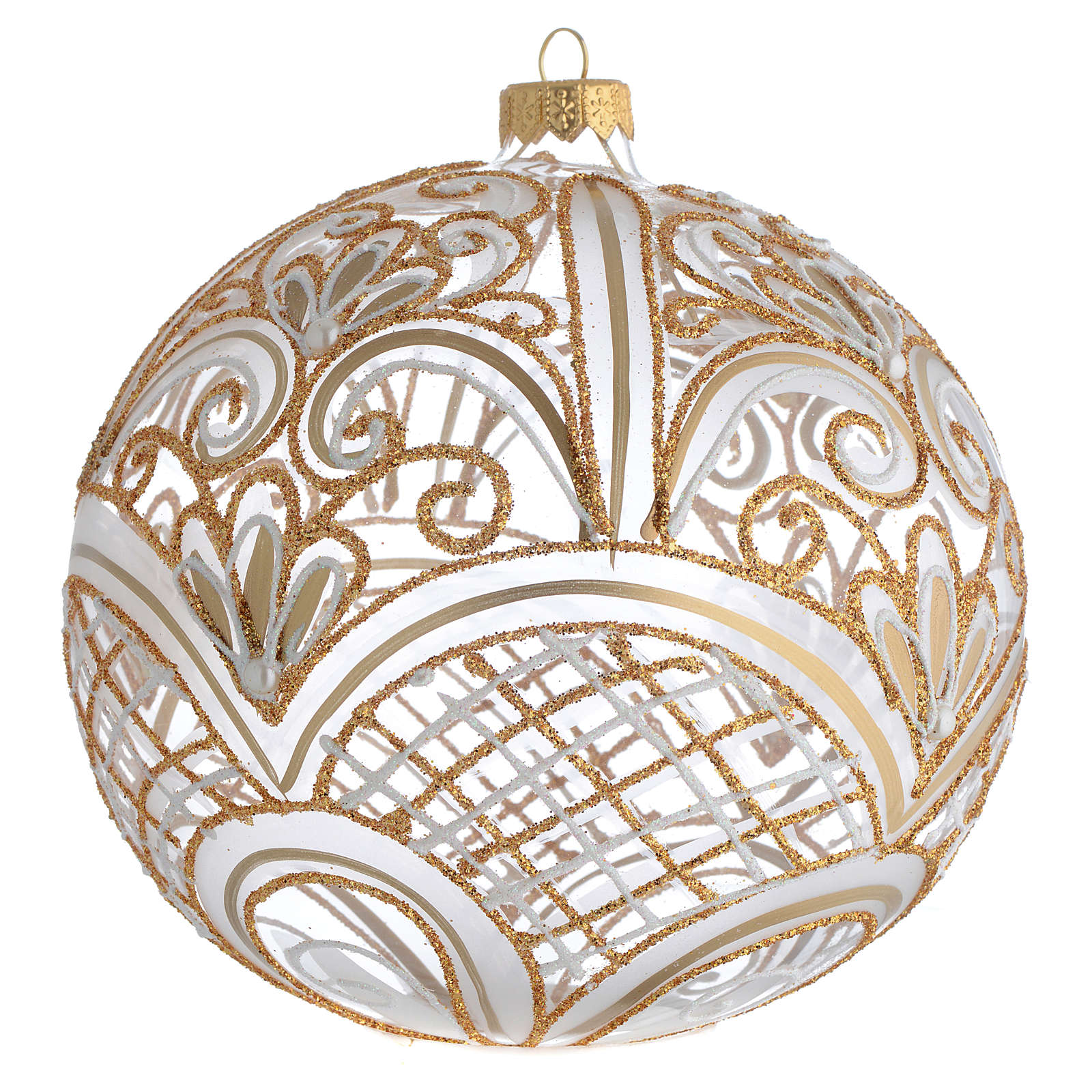 Christmas Bauble blown glass golden decoration 15cm 4