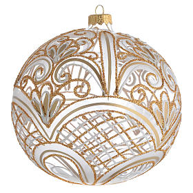 Christmas Bauble blown glass golden decoration 15cm s1