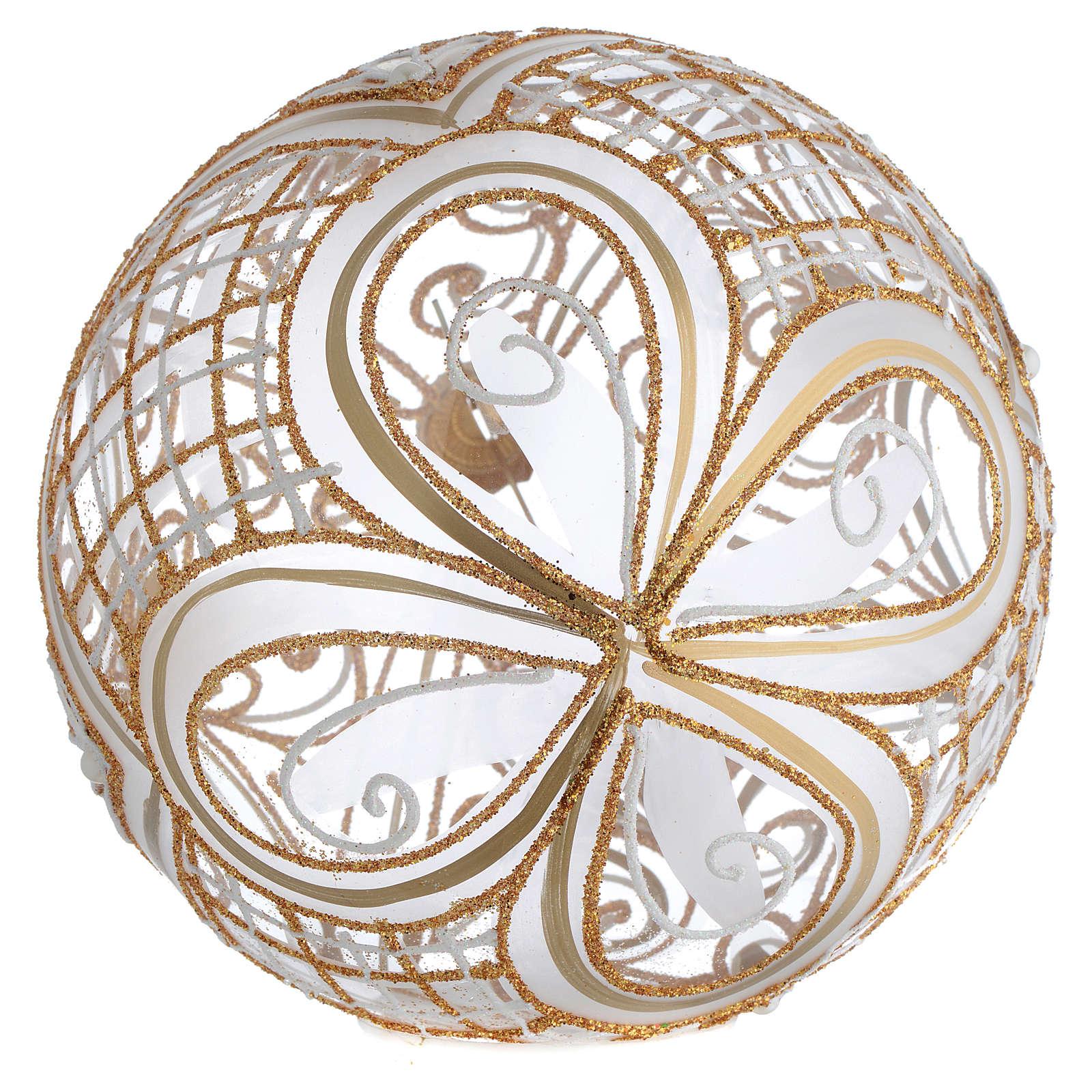 Palla Albero vetro soffiato decoro dorato 150 mm 4