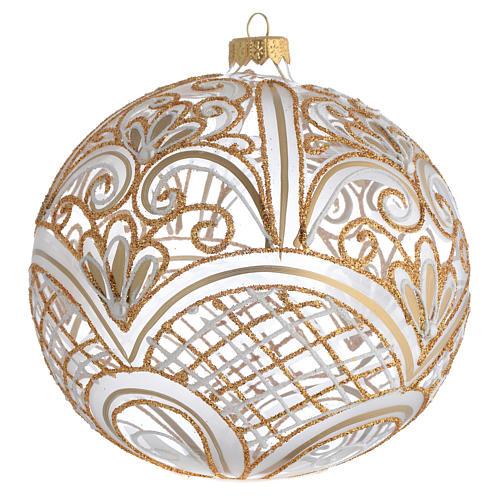 Palla Albero vetro soffiato decoro dorato 150 mm 1