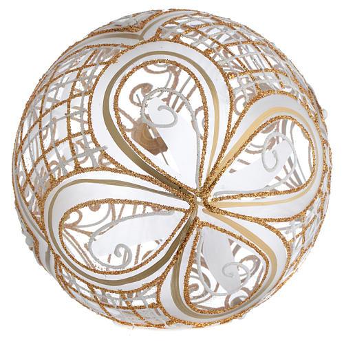 Palla Albero vetro soffiato decoro dorato 150 mm 2