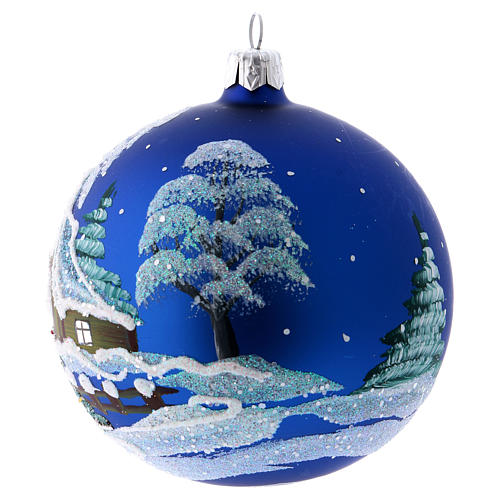 Christmas Bauble blue Landscape with snow 10cm 2