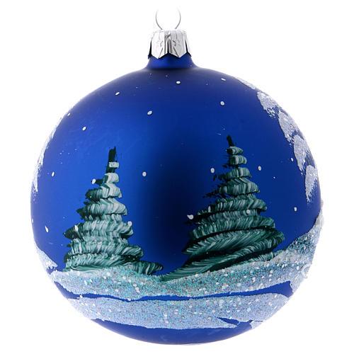 Bola de Navidad azul paisaje nevado 100 mm 3