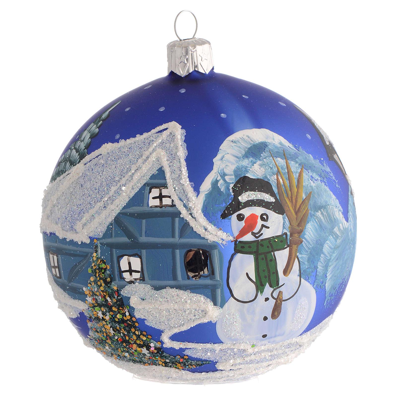 Décor Noël boule sapin bleu paysage neige 100 mm 4