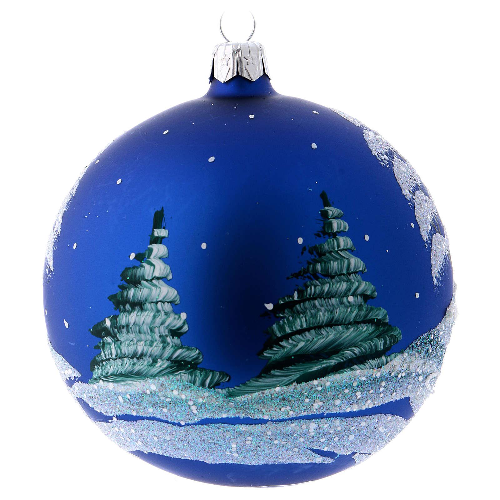 D cor no l boule sapin bleu paysage neige 100 mm vente - Sapin decore en bleu ...