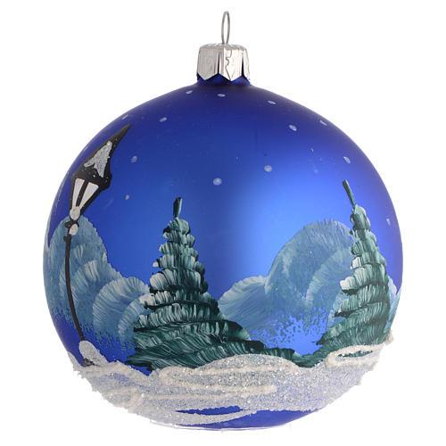 Décor Noël boule sapin bleu paysage neige 100 mm 2