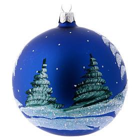 Addobbo Natale pallina blu paesaggio neve 100 mm s3