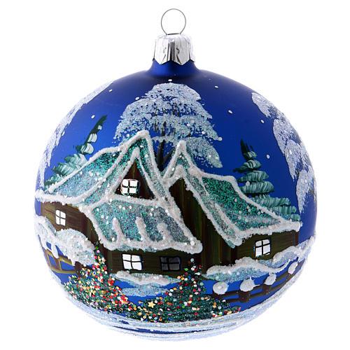Addobbo Natale pallina blu paesaggio neve 100 mm 1