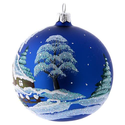 Addobbo Natale pallina blu paesaggio neve 100 mm 2