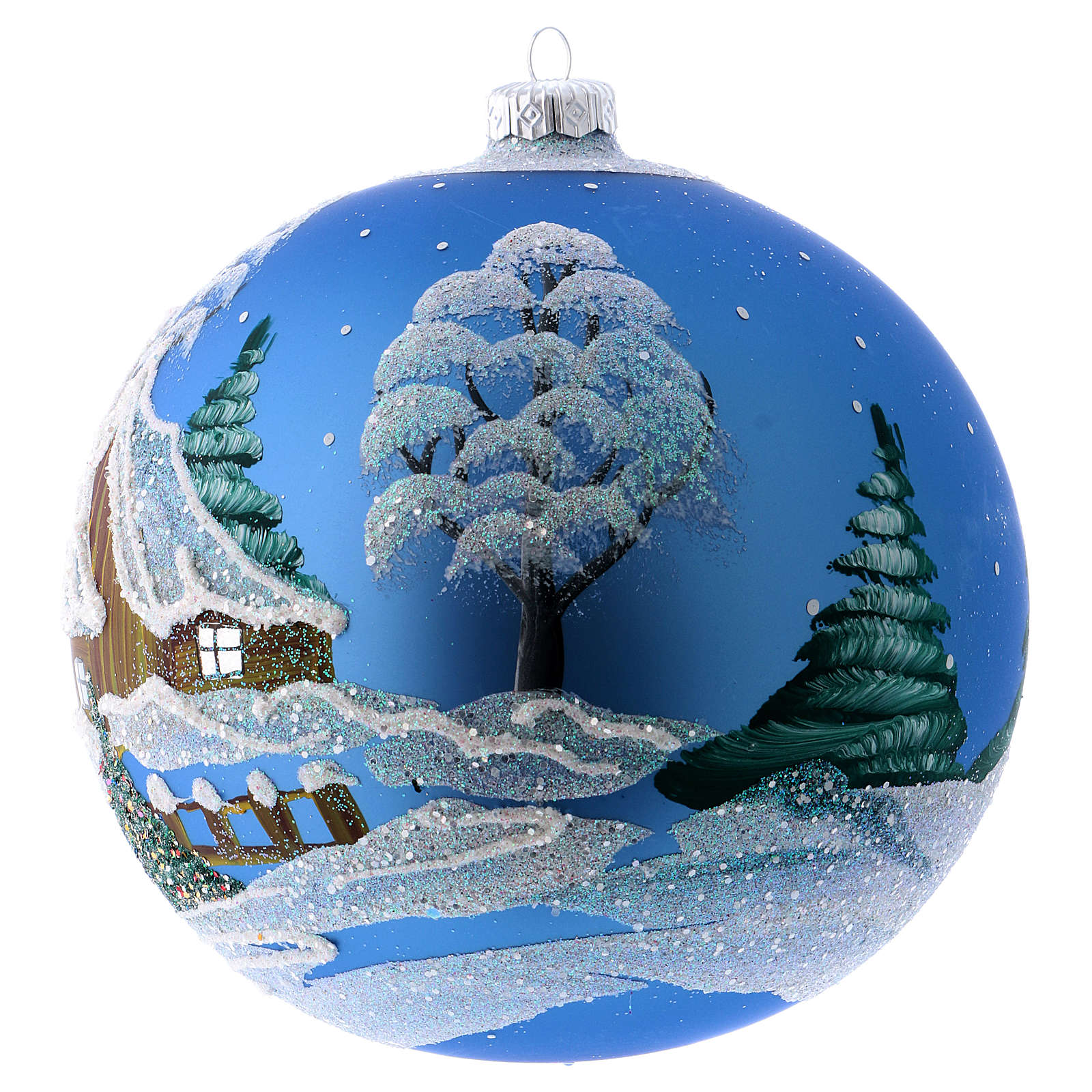 Christmas Bauble blue Landscape with snow 15cm 4