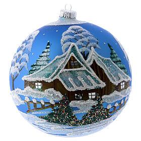 Boules de Noël: Décor Noël boule sapin bleu avec paysage neige 150 mm