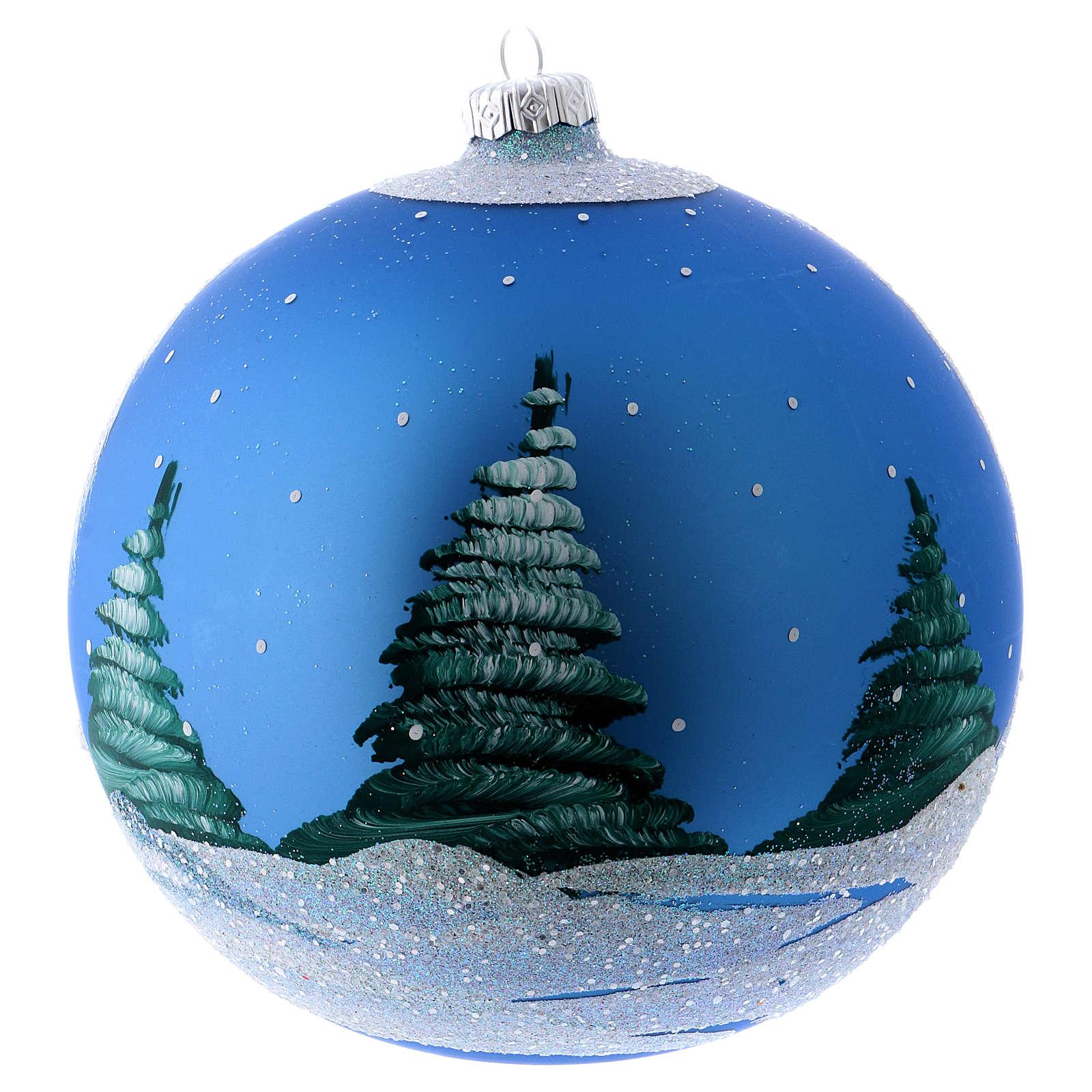 Addobbo Natale palla blu paesaggio neve 150 mm 4