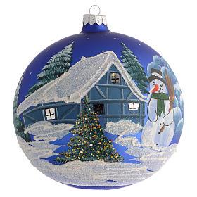 Addobbo Natale palla blu paesaggio neve 150 mm s1