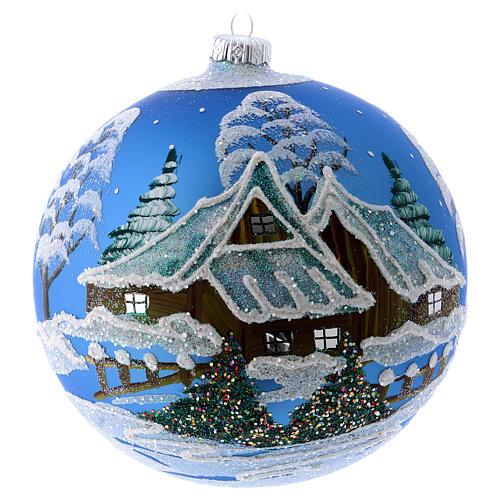 Addobbo Natale palla blu paesaggio neve 150 mm 1