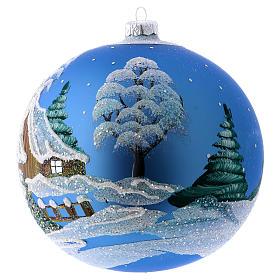 Christmas Bauble blue Landscape with snow 15cm s2