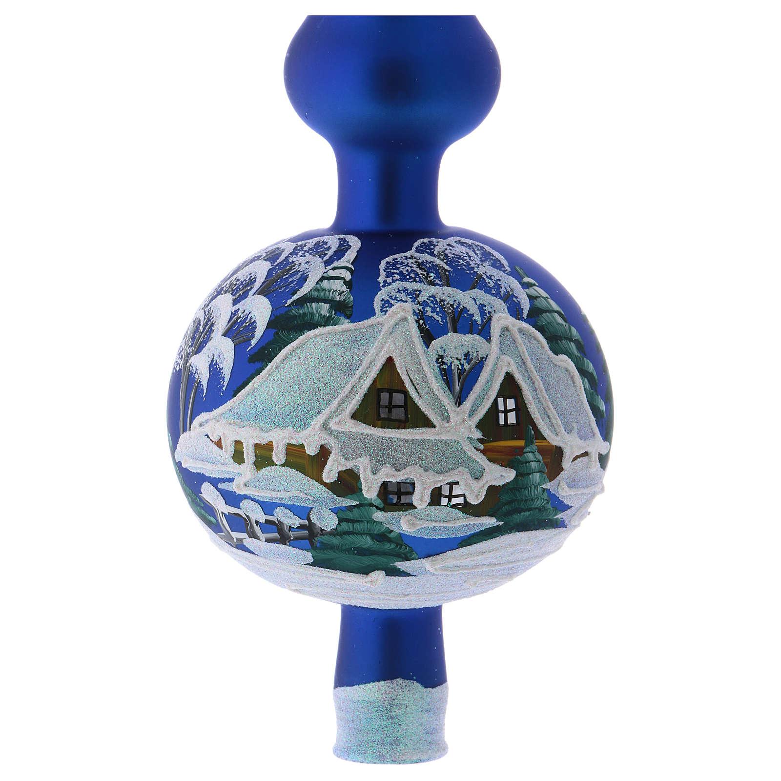 Punta Árbol de Navidad vidrio soplado azul paisaje nevado 4