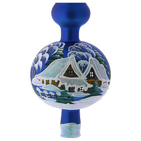 Punta Árbol de Navidad vidrio soplado azul paisaje nevado s2