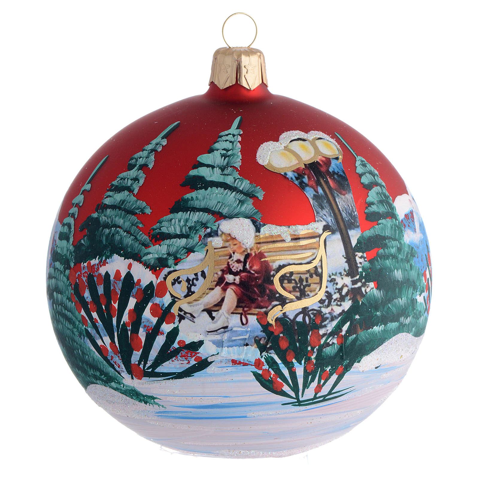 Décor Noël boule sapin petite fille découpage 100 mm 4