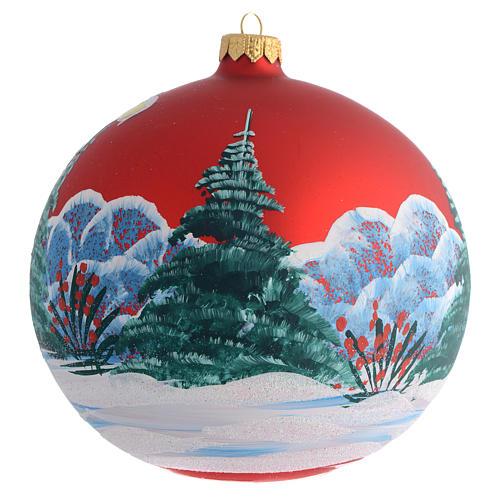 Bola de Navidad roja con niña decoupage 150 mm 2