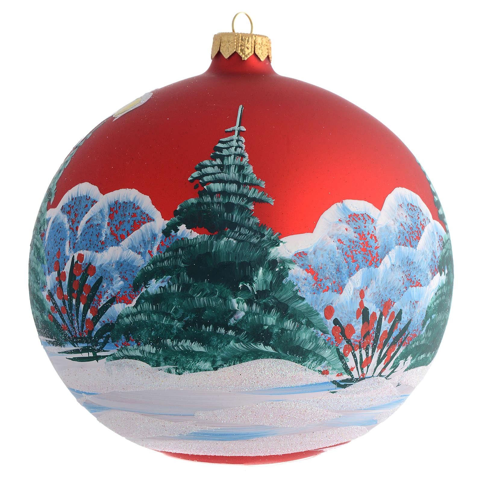 Bola árvore Natal vermelha menina découpage 150 mm 4