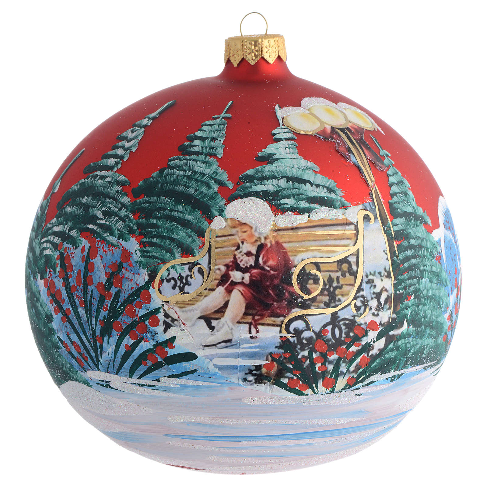 Christmas Bauble red Girl découpage 15cm 4