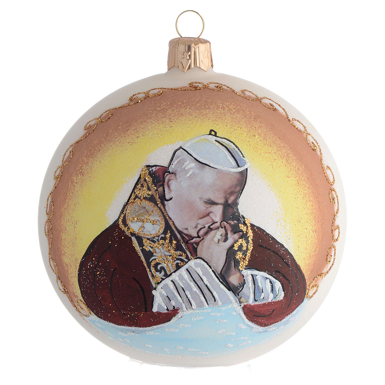 Christmas Bauble John Paul II blown glass 10cm 4