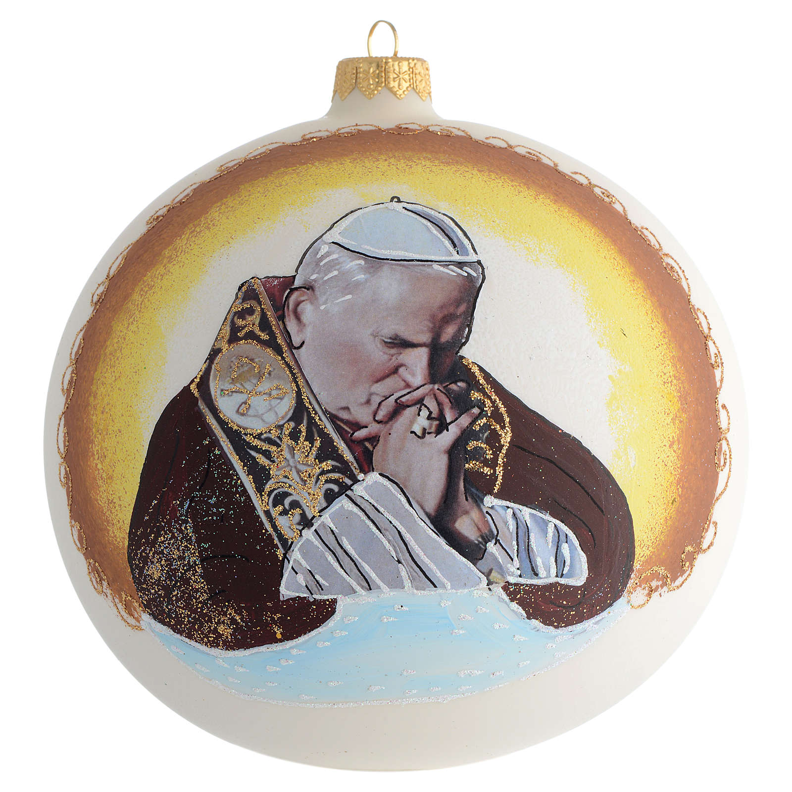 Christmas Bauble John Paul II blown glass 15cm 4