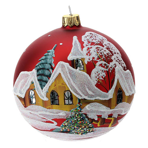 Christmas bauble in red glass with houses and trees 100mm 1