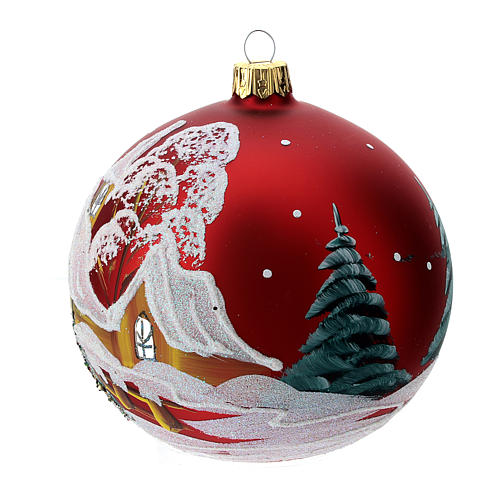 Christmas bauble in red glass with houses and trees 100mm 2