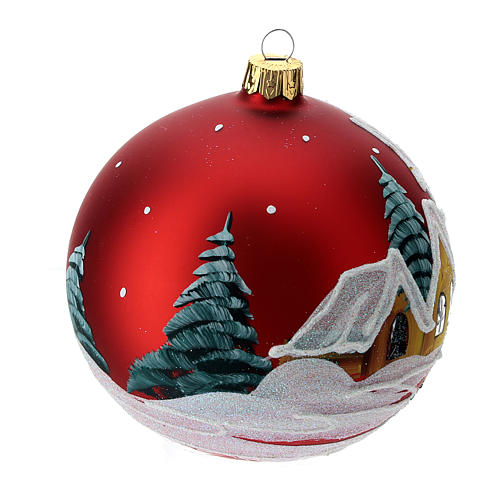 Christmas bauble in red glass with houses and trees 100mm 3