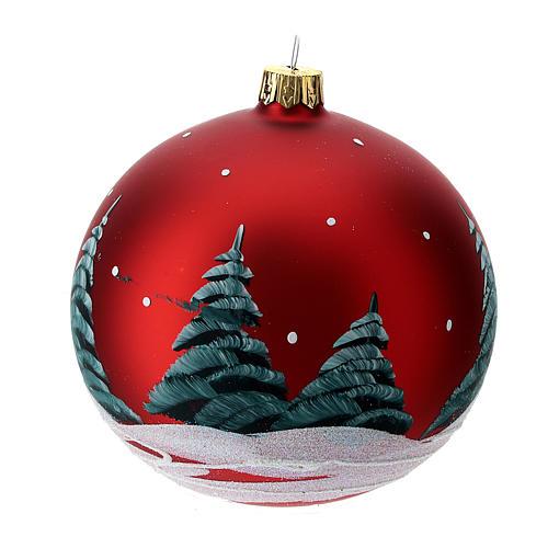 Bola de Navidad vidrio rojo casas y árboles 100 mm 4