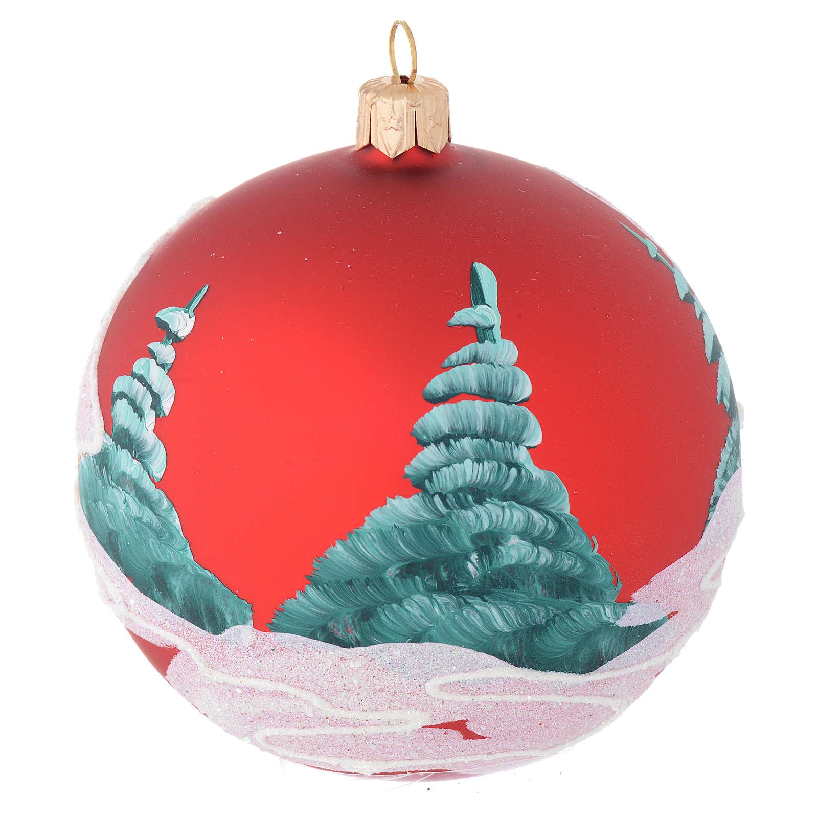Palla Natale vetro rosso case e alberi 100 mm 4