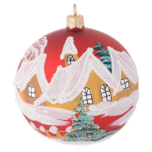 Palla Natale vetro rosso case e alberi 100 mm 1