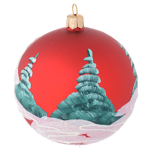Palla Natale vetro rosso case e alberi 100 mm 2