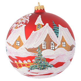 Christmas bauble in red glass with houses and trees 150mm s1