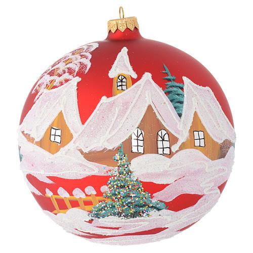 Boule Noël verre rouge maisons et arbres 150 mm 1