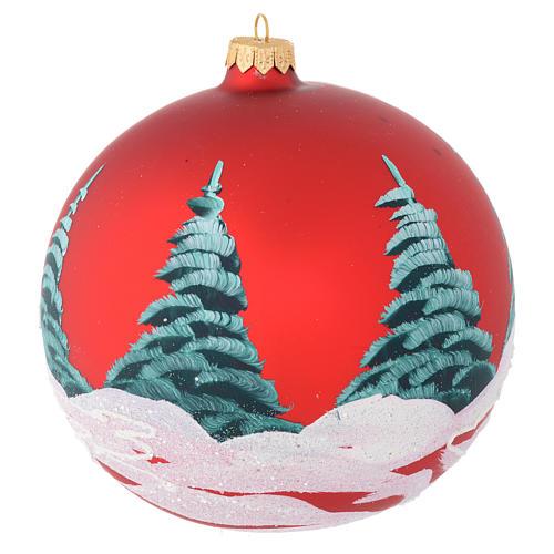 Boule Noël verre rouge maisons et arbres 150 mm 2
