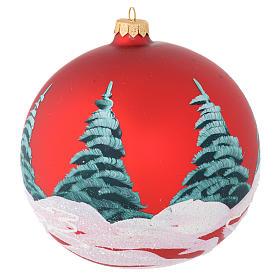 Bola Natal vidro vermelho casas e árvores 150 mm s2