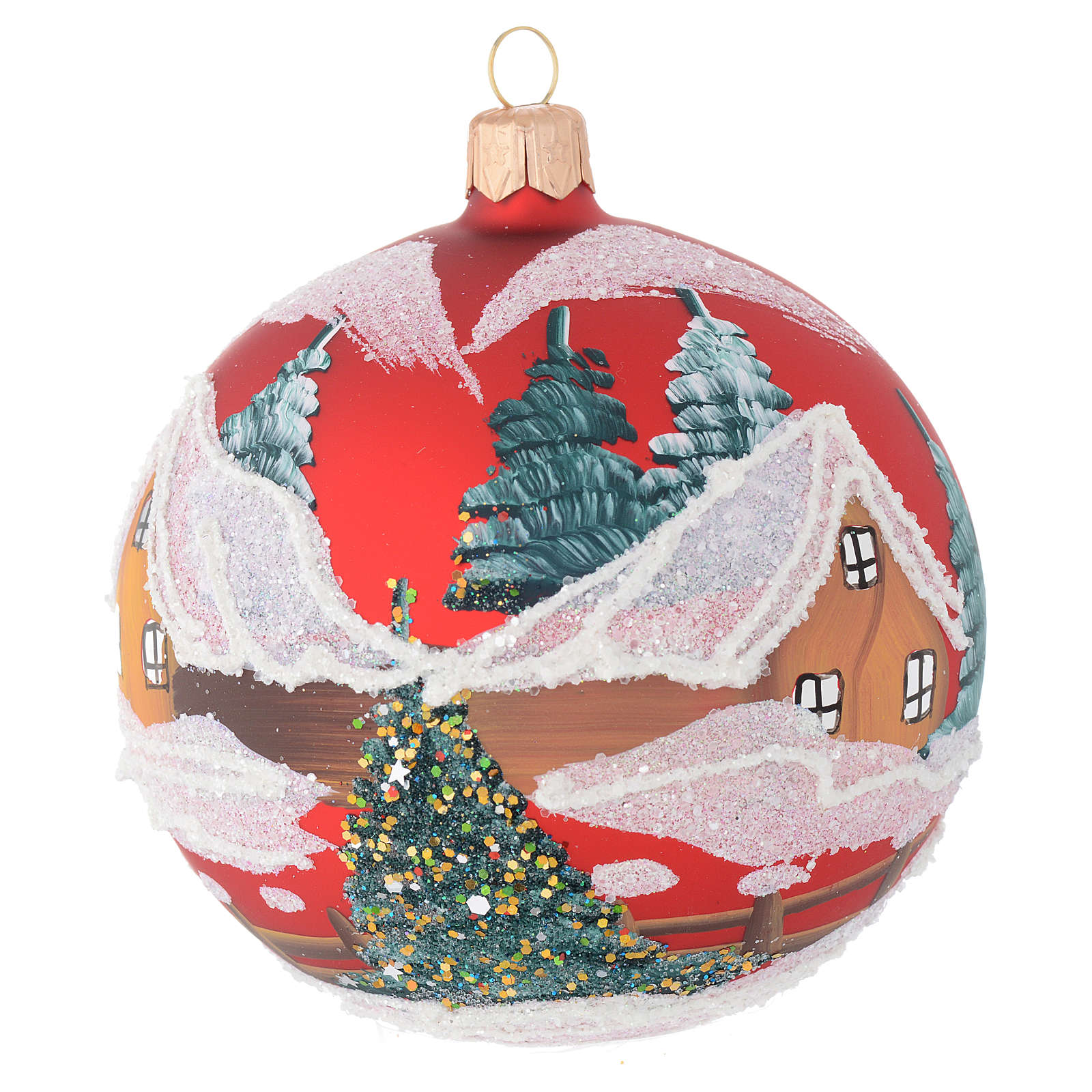 Christmas bauble in red blown glass with houses 100mm 4