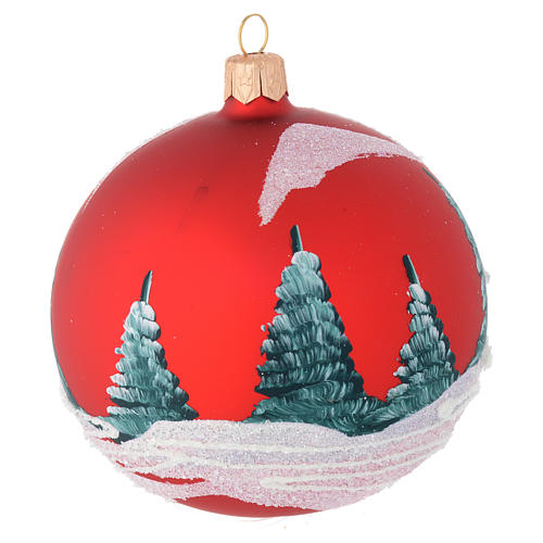 Christmas bauble in red blown glass with houses 100mm 2