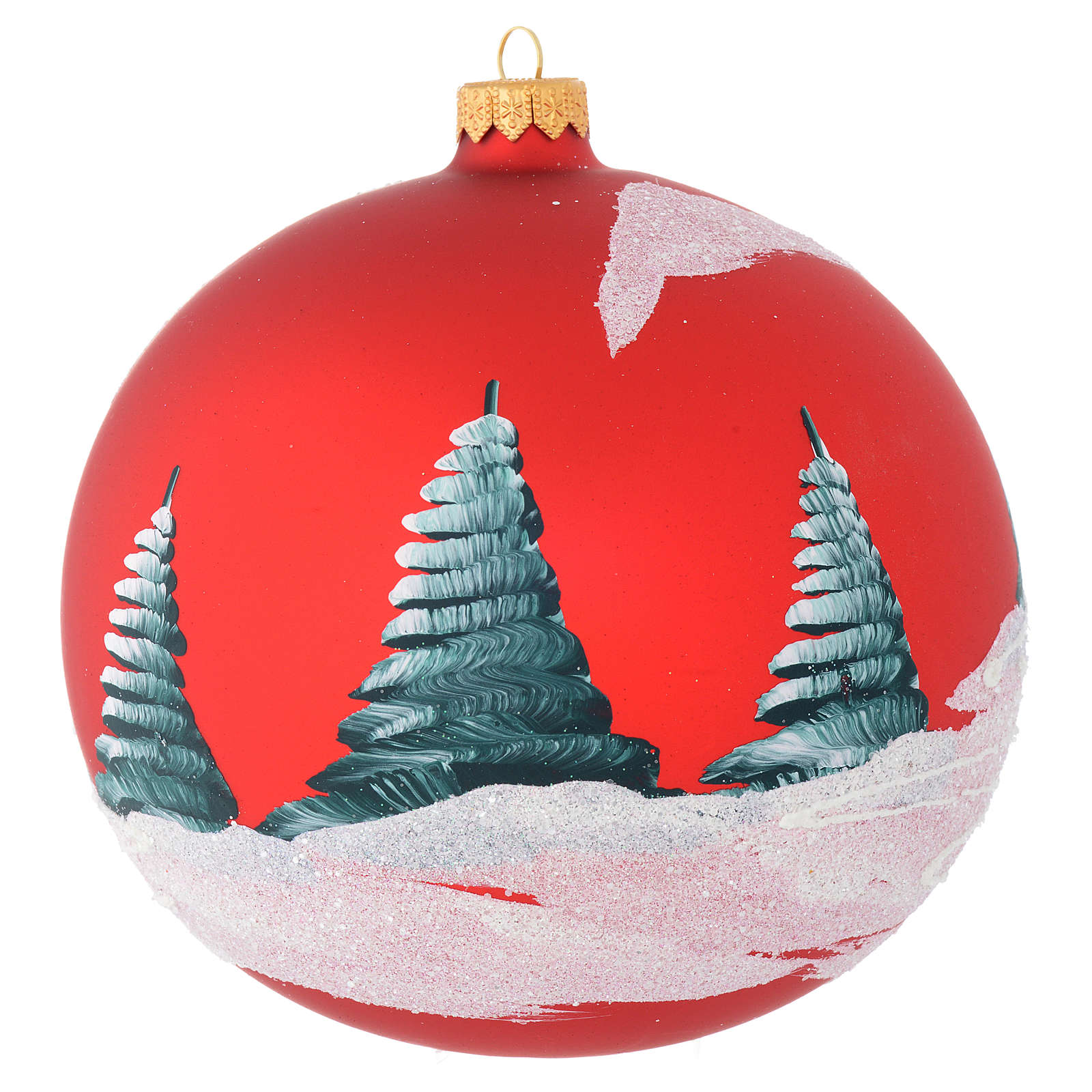 Christmas bauble in red blown glass with houses 150mm 4