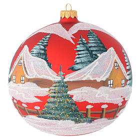Christmas balls: Christmas bauble in red blown glass with houses 150mm