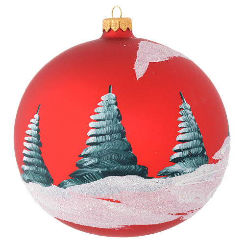 Christmas bauble in red blown glass with houses 150mm 2