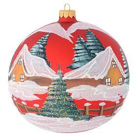 Boule Noël verre soufflé rouge décor maisons 150 mm s1